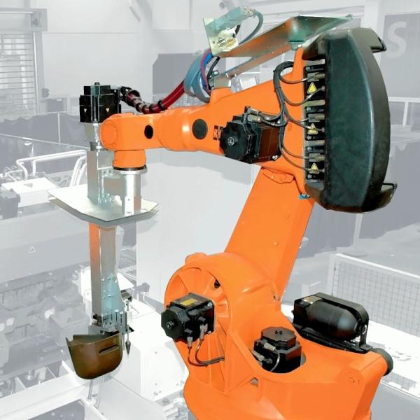 Bild 1: Gießroboter mit montiertem Gießlöffel, Type ROBOCAST der Fa. Fill GmbH