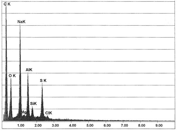 Bild 2: Elementespektrum des Einschlusses aus Bild 1