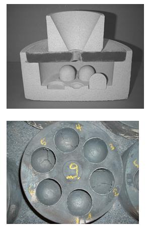 Bild 1: Domkernprobe; Form mit eingelegten Domkernen (oben) und Abguss zur Auswertung der Blattrippenneigung (unten)