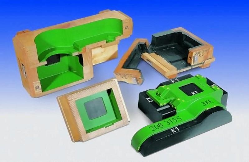 Bild 1: Gießereimodell mit 3 Kernkästen für Gehäuse aus Leichtmetallguss