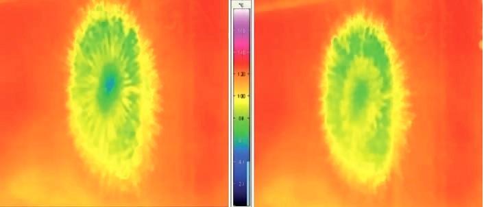Bild 1: Infrarotaufnahme eines Sprühflecks, Formtemperatur bei Änderung der Trennstoffzusammensetzung, Foto: mit freundlicher Genehmigung des ifs (Institut für Füge- und Schweißtechnik der Technischen Universität Braunschweig)