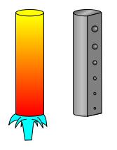 Bild 1: Stirnabschreckversuch, links (schematisch) und Veränderung der Härte, rechts (schematisch und stark vergrößert, Quelle: Wikipedia, Cdang)