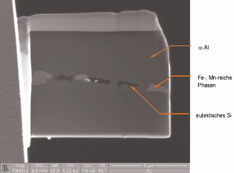 Bild 11: Detail der am Probenträger angehefteten TEM-Lamelle, ?-Al-Mischkristall mit quer verlaufendem Eutektikum, letzteres bestehend aus Fe- und Mn-reichen Phasen und den eutektischen Si-Partikeln.
