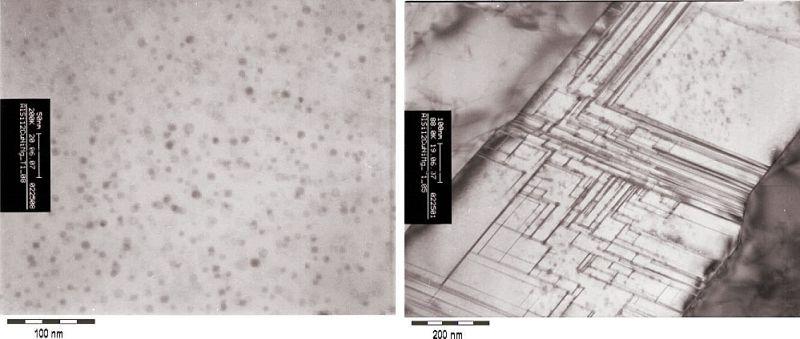 Bild 11: Legierung AlSi12CuNiMg, TEM-Bilder, Hellfeld, links: Zustand T1, sehr feine und homogen verteilte GP1-Zonen nach vollst. Kaltauslagerung,rechts: Die feinen Linien charakterisieren Kohärenzspannungsfelder, die aufgrund der Gitterverzerrung in Umgebung der Ausscheidungen entstehen.Quelle: H. Rockenschaub, FT&E