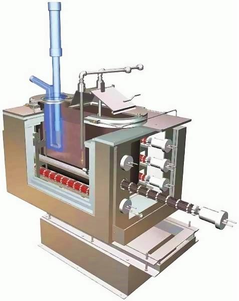 Bild 2: Schnittdarstellung eine elektrisch beheizten Einkammer-Mg-Maschinenofens mit eingesetztem Gießbehälter, Foto: Ing. Rauch Fertigungstechnik GmbH