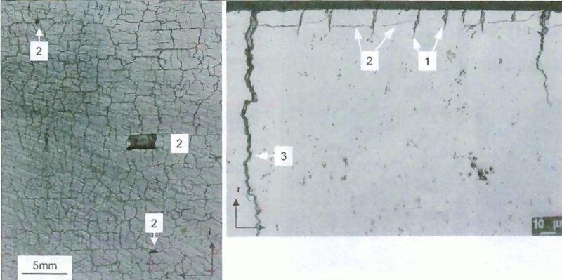 Bild 2: Brandrisse – Erscheinungsform und Schädigungsstufen: 1. Klaffende Risse an der Oberfläche2. Eindringen der Schmelze, Maschenrisse- und Maschenbrüche (Ausbrüche)3. Werkzeugbruch