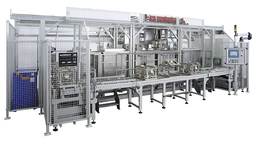 Fig. 2:  Automated impregnation line with conveyor connecting system enabling circulation of process baskets