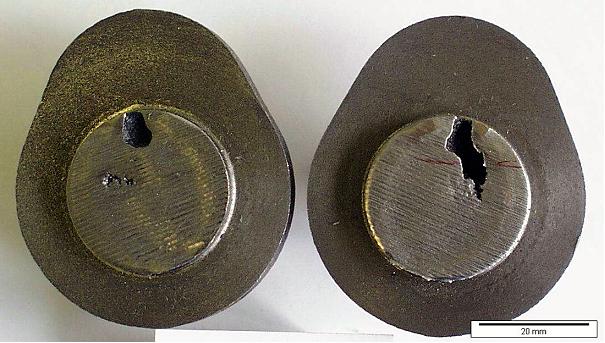 Bild 3: Nockenwellenabschnitte mit Gasblasenfehlern