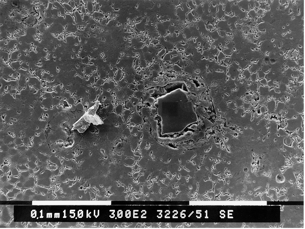 Bild 5: REM-Aufnahme aus einem der in Bild 4 gekennzeichneten Stellen Bild 6: EDX-Analyse des harten Einschlusses aus Bild 5, der demzufolge aus Siliziumcarbid besteht. Ursache können zum