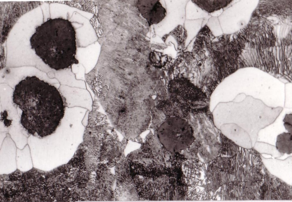 Fig. 2:  Ferrite borders in pearlitic cast iron, 300:1, 100:1, 300:1, etched