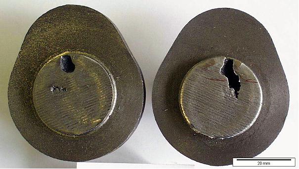 Fig. 3: Cam shaft sections with gas blister defects