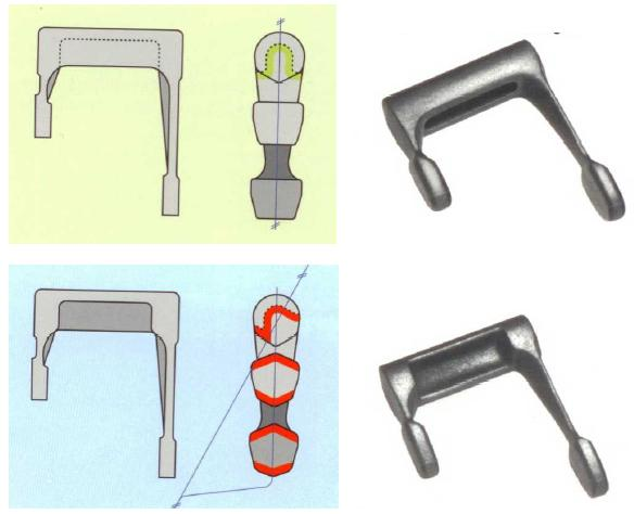 Fig. 1: Lever EN GJS-500-7Top: Previous design, casting price 100%, complicated core, increased cleaning effort  Bottom: New design, casting price 61%, no core, low cleanintg effort