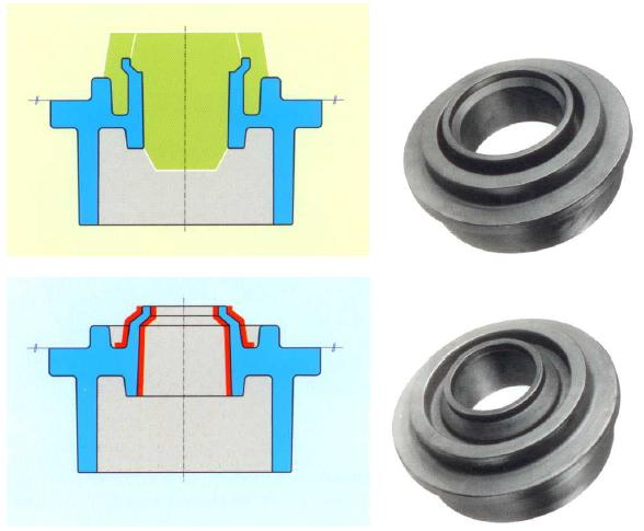 Fig. 2:  Rotor housing EN GJS-400-15Top: Previous design, casting price 100%, complex feeding design, 2 cores, high gleaning effortBottom: New design, casting price 68%, simplified feeding design, no cure low cleaning effort