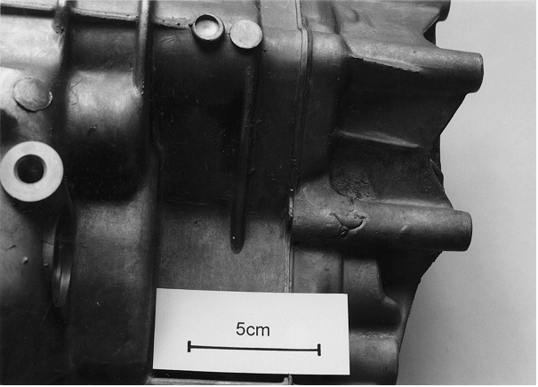 Fig. 2: Cold shut area at a pressure die cast gear box, detailed image