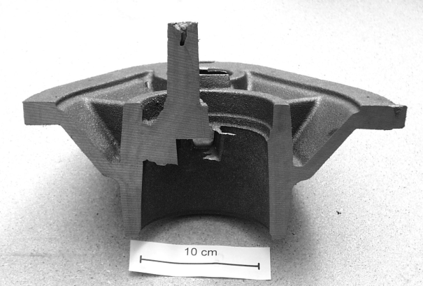 Fig. 5:  Cross section of a casting made of EN-GJS-600-3 with optimally sized and positioned exothermic risers