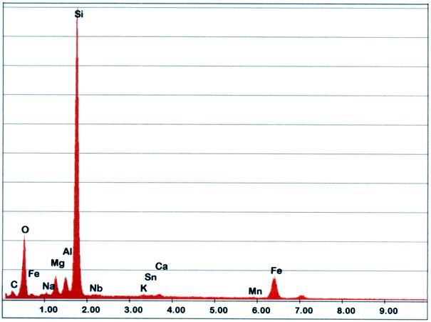 Bild 3: EDX-Analyse der Bereiche 1 aus Bild 2, deutlich wird in diesem Beispiel die Komplexität von Einschlüssen sichtbar, neben Sandeinschlüssen treten auch Schlacken und Metalloxide auf (Quelle: FT&E)