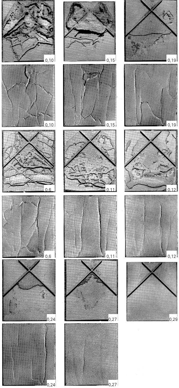 Bild 3: Entstehung von Schülpen:a) Deckenschülpeb) Blattrippe c) Bodenschülpe mit Rattenschwanz d) Bodenschülpe