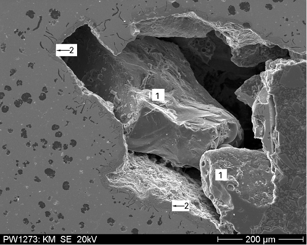 Fig.2: SEM recording of a specimen from one of the defects Fig. 1 (source: FT&E)