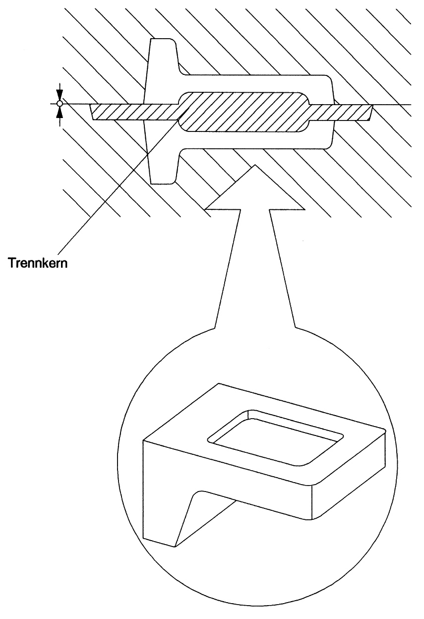 Figure 1: Flask mold with separating core
