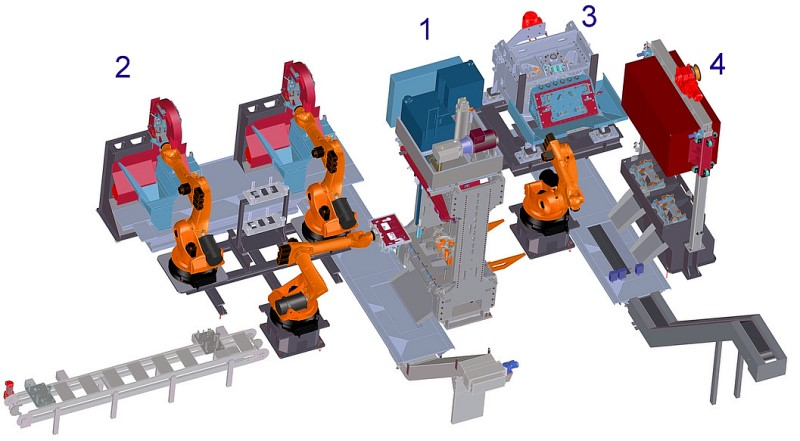 Fig. 8: Pre-processing cells for gravity die cast parts with trimming press, image: Fill GmbH, 1) TRIMMMASTER PRESS trimming press, 2) SPEEDLINER 920 M band saws, 3) CORECRACKER BASIC hammer station, 4) SWINGMASTER 40 decoring unit