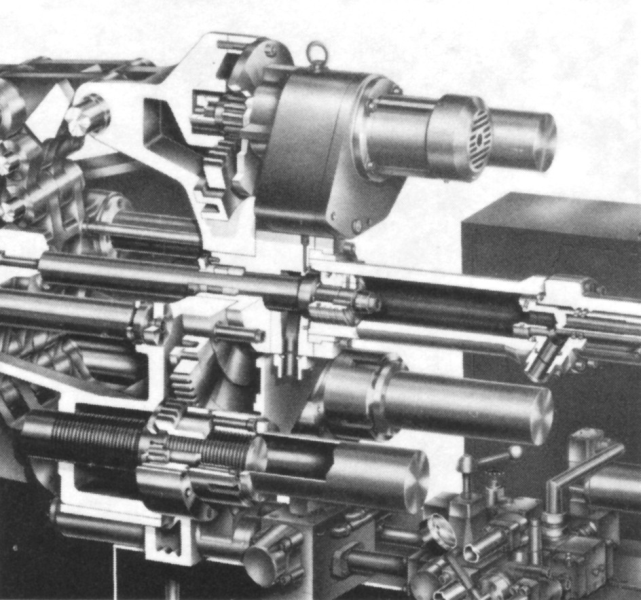 Fig. 2:  Sectional view of a mold height adjustment including sprocket drive Idra Presse Spa, Brescia, I