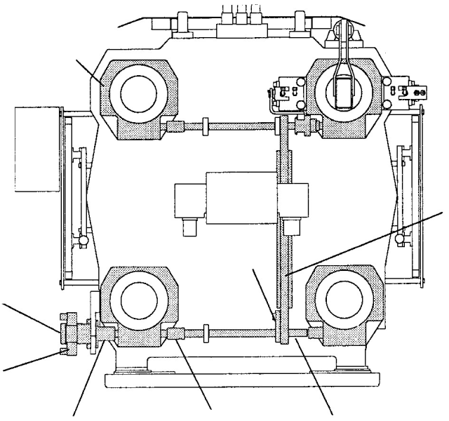 Fig. 3: Construction elements of a mold height adjustment including a worm shaft and worm gears, hydromotor drive, Source: Bühler AG, Uzwil, Switzerland