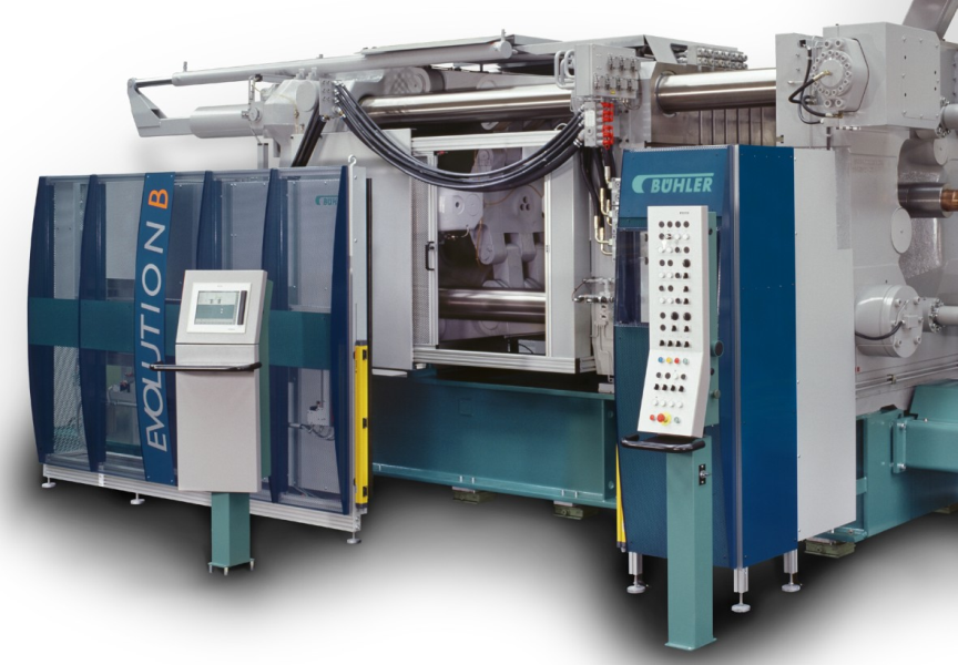 Fig. 2:  Mold locking unit of a cold chamber die casting machine, Bühler Evolution B by Bühler AG