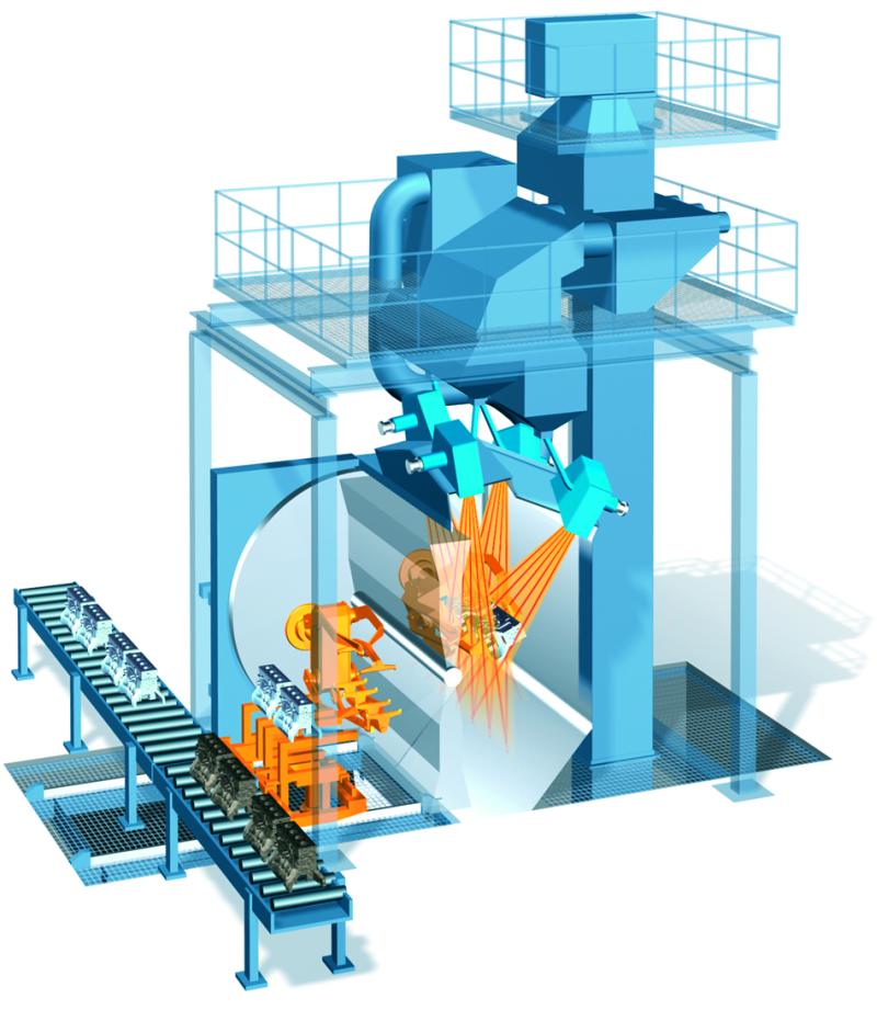 Fig. 3: 3D illustration of a manipulator blasting machine, (Wheelabrator)