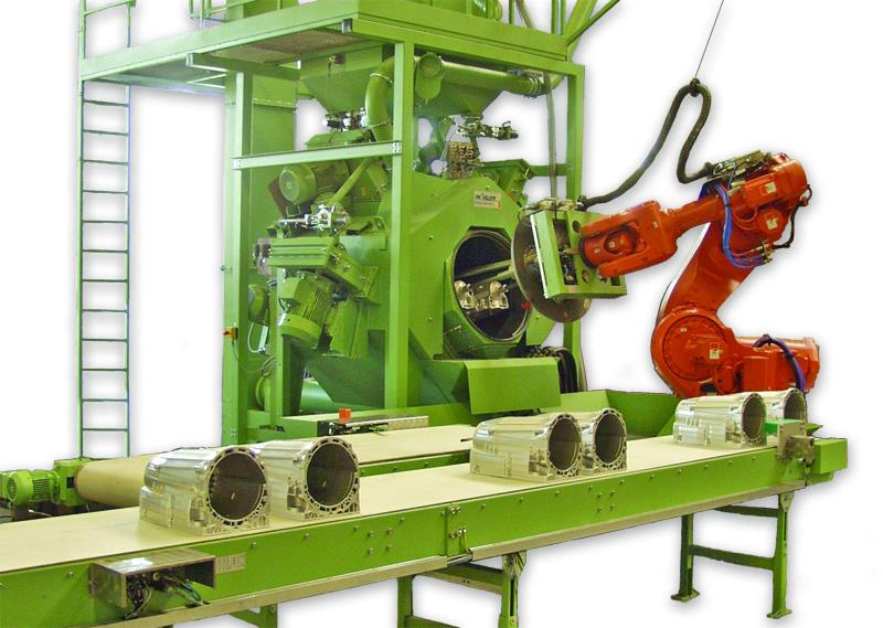 """Fig. 5: """"Roboblaster"""" to debur casting surfaces, (Rösler Oberflächentechnik GmbH, Untermerzbach)"""