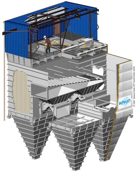 Fig. 1: Construction of a chamber filter (schematic), (Scheuch GmbH, Aurolzmünster, Austria)