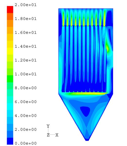 Fig. 4: Flow simulation in the raw gas area, (Scheuch GmbH, Aurolzmünster, Austria)
