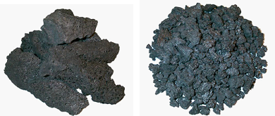 Figure 1: Left, calcined petroleum coke links, right, pitch coke,  (source: LSR Essen)