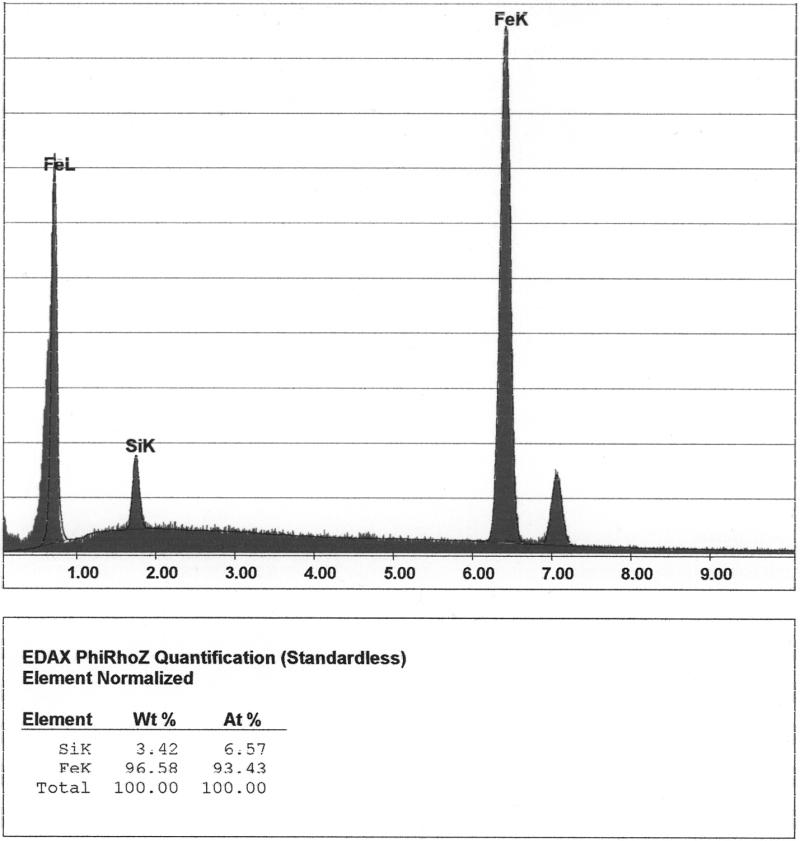 Bild 5: Siliziumkonzentration in den Messpunkten 1 und 7 (Ferrit) aus Bild 4 (Quelle: FT&E)