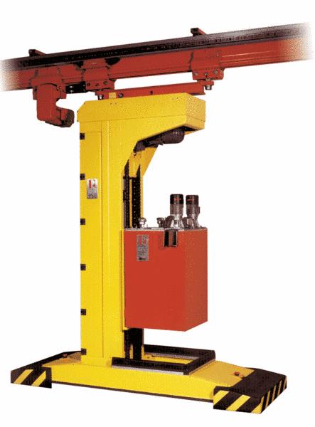 Fig. 2:  Liquid transportation of zinc with an overhead rail device, type ZFTH from Ing. Rauch Fertigungstechnik GmbH