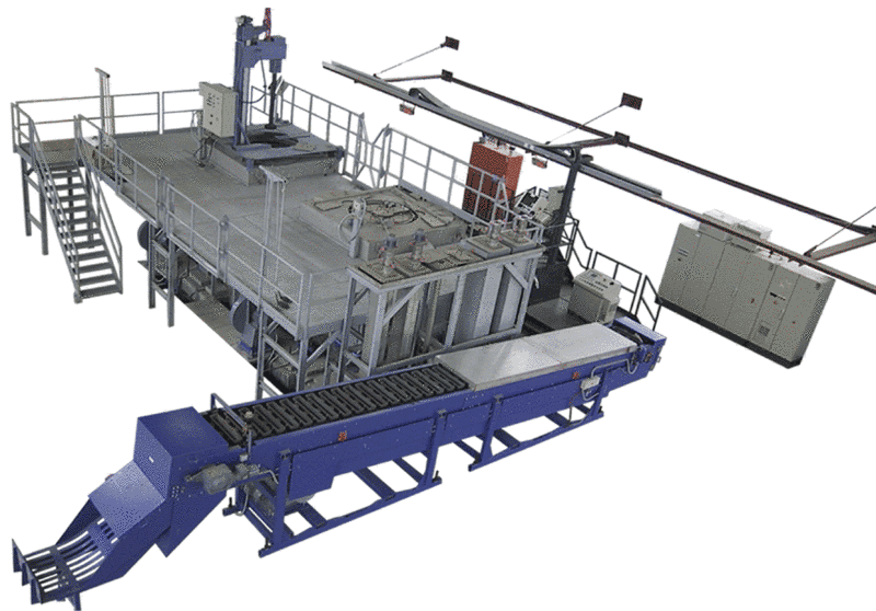 Fig. 2:  Pig casting conveyor (in the foreground) connected to a magnesium alloying plant, type MLA, by Ing. Rauch Fertigungstechnik GmbH
