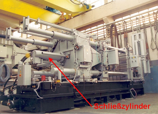 Fig. 4: Closing cylinder of a 17500 kN die casting machine with form-closed clamping; Oskar Frech GmbH make