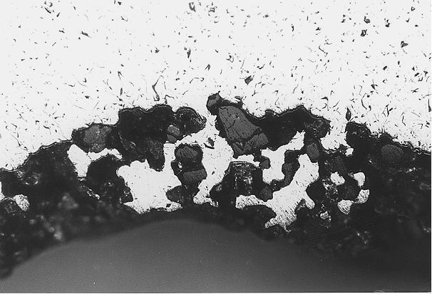 Bild 3: Deutliches pockenartiges Aussehen der Gussteiloberfläche, Vergrößerung 25:1
