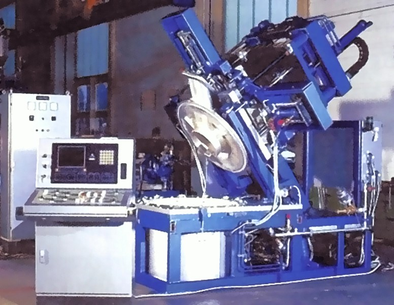 Fig. 5: Low pressure gravity die casting machine in tilted position