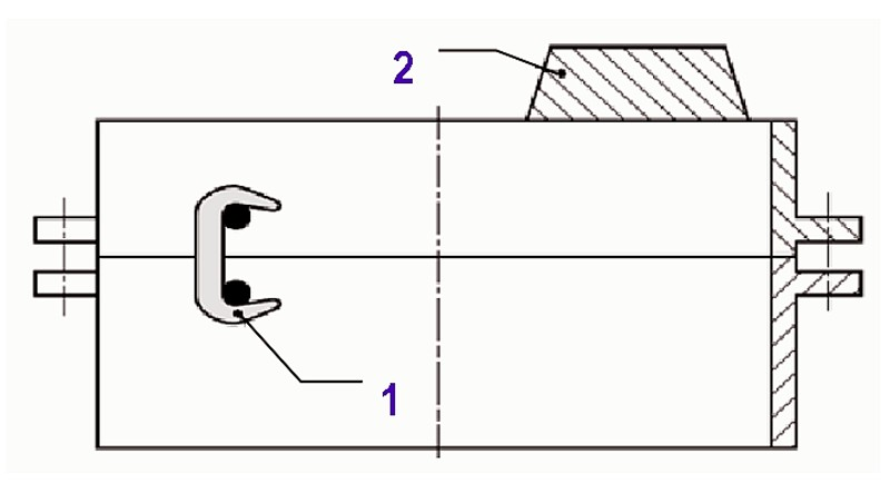 Fig. 3: Mold boxes of different heights1) clamped2) with weighting iron