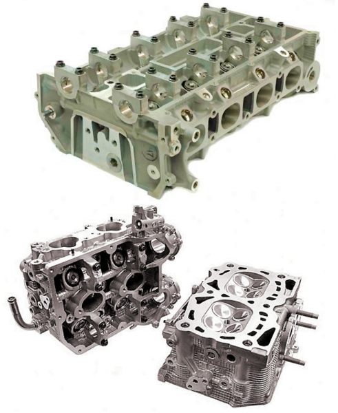 Fig. 1: Aluminum cylinder heads, produced using the Cosworth® low pressure sand casting process
