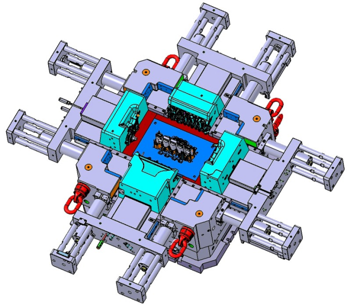 Fig. 5:  3D CAD construction of a large mold (series 5 cylinder engine block) from Schaufler Tooling GmbH