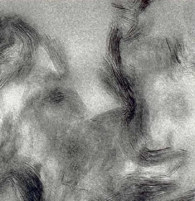 Bild 6: Rasterelektronenmikroskopische Aufnahme von Bentonit, deutlich ist die Schichtstruktur ersichtlich, 10000:1, (Quelle: Clariant SE )