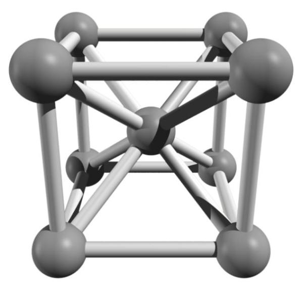 Bild 1: Kubisch-raumzentrierte Elementarzelle eines Eisenkristalls (Quelle: Wikipedia)