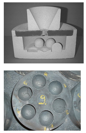 Fig. 1: Dome core test; mold with inserted dome cores (top) and casting for assessing the veining propensity (bottom)