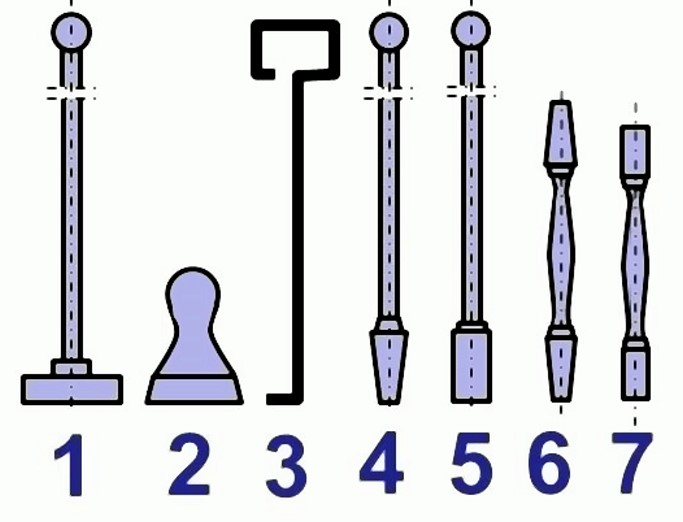 Fig. 1: Hand rammers (molder tools)1) Long flat rammer2) Short flat rammer3) Pegging rammer out of round-bar steel4) Long wedge-shaped pegging rammer5) Long pegging rammer6) Short wedge-shaped pegging rammer7) Short pegging rammer