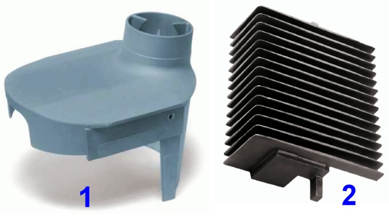 Fig. 1: Castings made of AlSi5Mg (not to scale), brand name Anticorodal®-50 by Rheinfelden Alloys GmbH & Co. KG1) Cover for woodworking machine, Anticorodal-50, as-cast condition, die-cast, hard-anodized, 450 × 310 × 330mm, weight: 5.0kg2) Basic absorber part, Anticorodal-50, sand-cast, 400 × 250 × 120 mm, weight: 6.7kg