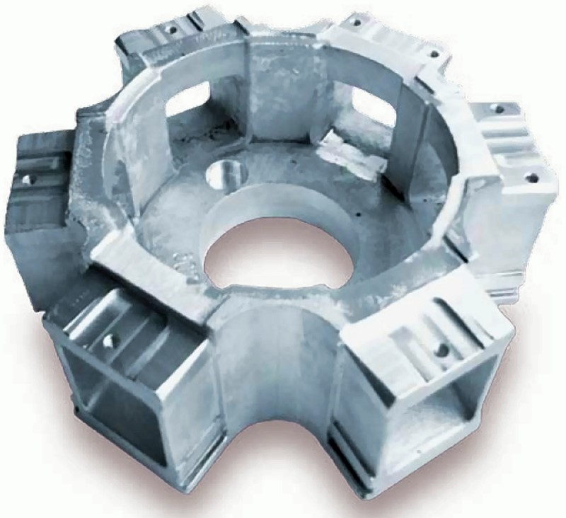 Fig. 1: Cast node for glass dome structure, casting made of AlZn3Mg3Cr, brand name Castadur®-30 byRheinfelden Alloys GmbH & Co. KG, gravity-die-cast, Ø 260 × 110mm, weight: 2.3kg