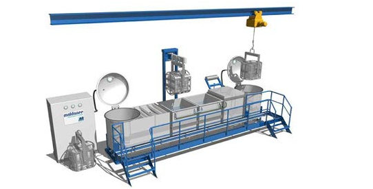 Fig. 1: Standard impregnation system consisting of an impregnation autoclave, a draining station with a reservoir for the impregnating agent, a clearing vessel and a polymerization vessel as well as a vacuum dryer (Maldaner GmbH, Langenfeld).