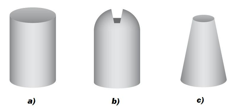 Fig. 1: Higher extraction volume thanks to improved shapes (ASK Chemicals Feeding Systems) a) Live riser, cylindrical shape, extraction volume 15%; b) Live riser, Williams shape, extraction volume 17%, c) Live riser, bottle shape, extraction volume 20%