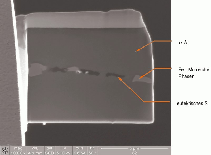 Fig. 11: Detailed view of the TEM lamella fixed to the specimen carrier, ?-Al solid solution with transverse eutectic, the latter consisting of Fe- and Mn-rich phases and the eutectic Si particles.